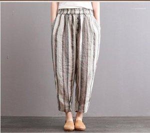 Fashion Women Pants Designer Womens Harem Pants Mid Waist Striped Print Elastic Waist Loose Pants Spring Summer