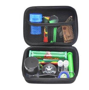 12pc tabac sac en plastique Set de fumer Grinder Pot de rangement en métal étain silicone pipe Un Hitter Pirogue rouleuse GGA3745