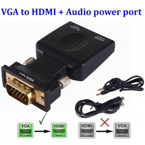 VGA Male to HDMI Female Converter Lead Adapter with Audio Output Cable Micro power port 1080P Signal For HDTV PC Laptop