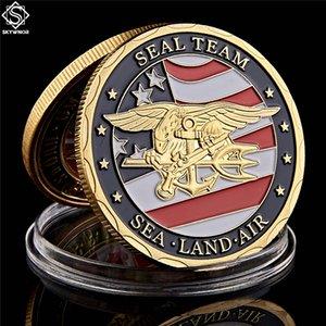 Позолоченные Сувенирная монета США Sea Land Air Of Seal Team Challenge, монет Департамент ВМФ Военно-Coin