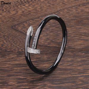 Donia jewelry party European and American fashion Cardi series large nail micro inlaid Zirconia Bracelet women's black gold bracelet