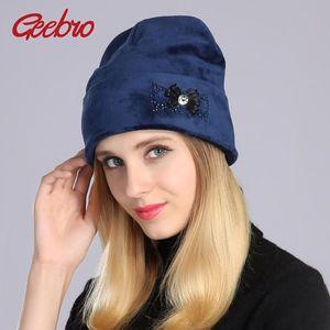 Geebro femmes Bonnet d'hiver chaud Casual velours Bonnet avec strass Mesdames Chapeau Bonnet tricoté Bonnet Cap DQ061