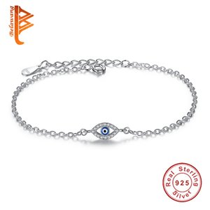 Luxus-925 Sterlingsilber-Frauen-Armbänder CZ-Kristall-Charme-Armband-blaue Email-Blicks-Korn-Armband für Frauen-Schmucksachen