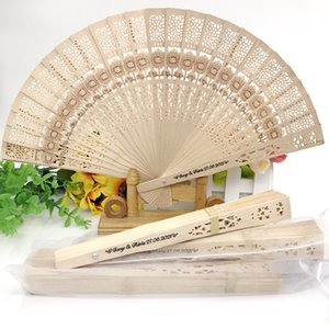 80PCS Personalized Sandal Wood Fan with Flower Pattern Custom Printing Name and Date Wedding Fan in Organza Bag Drop Shipping
