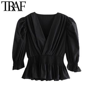 Camicie Moda Donna TRAF increspato ritagliata camicette Vintage Lanterna manica elastica Smocked Vita Top Femminili Chic