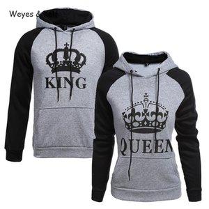 Weyes Kelf gedruckten Buchstaben König Königin Paar Kleidung Pullover Frauen 2020 Frauen Sweatshirt Langarm-Kapuzenshirt Kpop