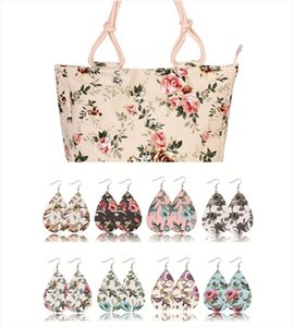 2020 Fashion Folding Women Big Size Handbag Tote Ladies Casual Flower Printing Canvas beach bag with 8 pairs earrings.