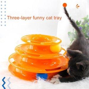 Training Amusement Disc Track Intelligenz Disc Drei Teller Level Kugel Triple-Pay-Katze-Haustier-Katze Amusement Katze Spielzeug-Turm bbyUtW