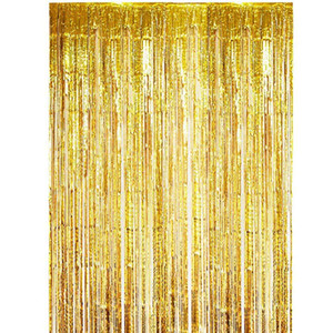 Duschvorhang Hochzeit Dekoration Hintergrund glänzend Folie Regen Vorhang Tinsel Kinder Erwachsene Photo Booth-Geburtstags-Party Vorhänge Baby Shower