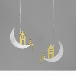 INATURE 925 Sterling Silver Home on the Moon Drop Earrings For Women Fashion Jewelry Gift CX200628