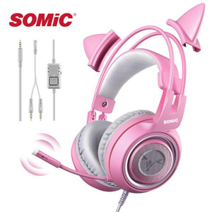 PC X 박스 하나의 전화 패드 여자 아이 게임 헤드셋에 대한 SOMIC G951s 핑크 소녀 고양이 귀 게임 헤드폰 3.5mm의 플러그 귀여운 헤드셋