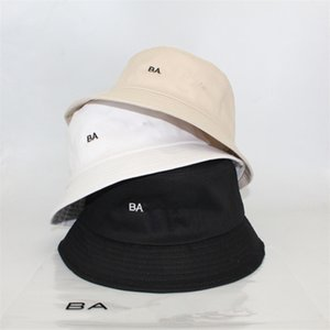 A003 Embroidery Letter Bucket Hat Cotton Fishing Hats B&A Summer Visor Cap Men Women Sunhat Trendy Desing Fisherman Hats Hip Hop Caps T