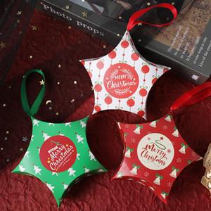 Créatifs Christmas Candy Boxes Mini Xmas Stars de vacances Rubans Beau Cadeau Cadeau Boîtes d'emballage Coloré Paquet de cuisson Décorations de fête VT1581