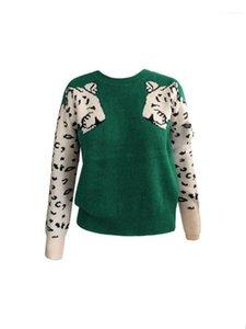 Designer Leopard Painéis Womens camisola de manga longa gola mulheres Camisolas na moda Womens Sweater Vestuário