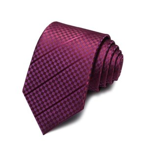2020 Brand New Fashion High Quality Men 7CM Dark Plaid Wine Red Necktie Wedding Formal Suit Party Neck Tie for Men with Gift Box