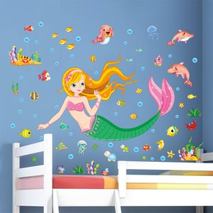 [shijuekongjian] Underwater World Mermaid Fish Wall Stickers DIY Girl Wall Decals for Kids Room Bathroom House Decoration