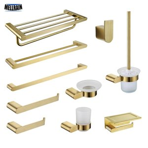 Dish Tooth Gold-Rack-Zubehör Hardware WC Cup, Edelstahl gebürstet Halter Bar Soap Stainless Steel Bad Pinsel Handtuch Papierhandtuch Shaks