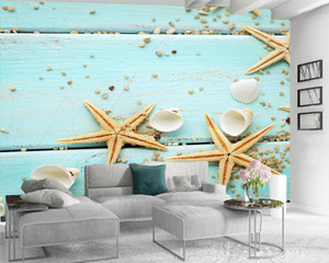 3d Bedroom Wallpaper Custom Any Size 3d Wallpaper Beautiful Starfish on Blue Wooden Board Modern Home Decoration Wallpaper