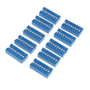 10pcs Blue Double Row 16 Pin 8 Position 2.54mm Pitch DIP Switch 8P Bits