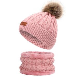 Vestito lavorato a maglia sciarpa cappello sfera della pelliccia autunno e l'inverno per bambini imitazione del cane di Raccoon sfera della pelliccia Cappellino più velluto sciarpa del bambino