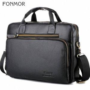 Fonmor Men Genuine Leather 15.6Laptop Handbags Briefcase Crossbody Shoulder Bags Male Cowhide Fashion Totes Bag High Quality 7pSK#