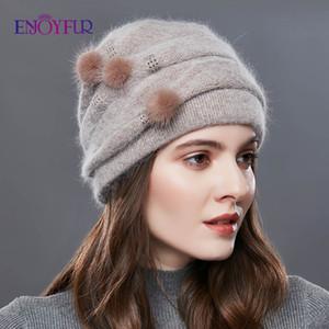 ENJOYFUR cachemire Pompom femmes Chapeaux d'hiver Casquettes Stripe Bonnet Femme Mode Lady Middle-Aged Cap strass Bonnet épais