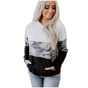 Женская мода Hood Камуфляж Сращивание Длинные рукава пуловер Толстовка Блузы