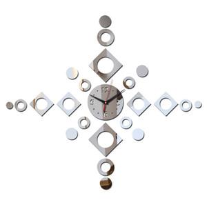 diseño moderno nuevo caliente se precipitó DIY 3D decoración de la pared del reloj del espejo de cuarzo reloj de la decoración del hogar pegatinas relojes de sala de estar