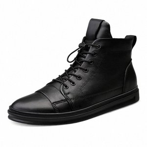 Youki homme Bottes d'hiver en peluche laine fourrure Homme Botte en cuir véritable Chaussures Hommes Big Taille FTUC #