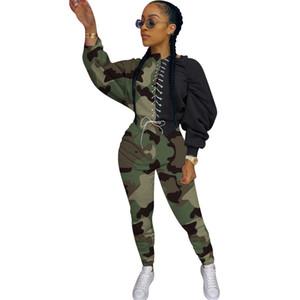 Sexy camuflagem Leopard Imprimir Calças com painéis Roupa Define Womens Dois ternos movimentando CHANDAL de las mujeres