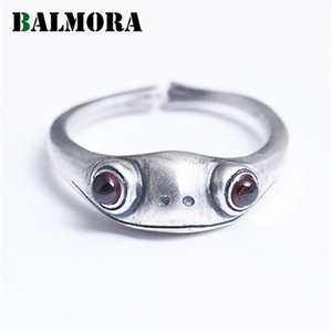 BALMORA 100% 990 Pure Silver Garnet Frog Animal Rings For Women Lady Girl Cute Fashion Open Ring Jewelry Anillos Christmas Gifts C0924
