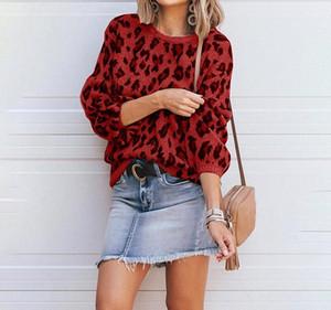 Leopard Print Knitting Sweaters Fashion Female Clothing 2020 Womens Designer Luxury Sweater Autumn Winter Lantern Sleeve