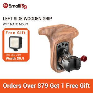 SmallRig Caméra gauche Poignée en bois + OTAN Clamp avec Arri Rosette poignée réglable à dégagement rapide poignée en bois - 2118