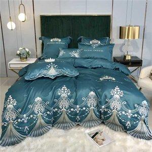 Satin comme soie coton vert blanc gris bleu Couronne broderie Literie Jacquard Housse de couette Linge de lit Drap Taie