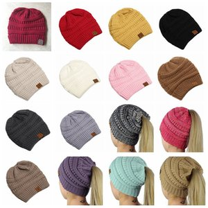 CC Ponytail Beanie Hats 15 Color Women Crochet Knit Cap Winter Skullies Beanies Warm Caps Female Knitted Stylish Hats Big Kids Hat 50pcs