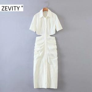 las mujeres ZEVITY atractivo de la cintura cortado hueco plisado mujeres delgadas en shirtdress vestidos de manga corta casuales elegantes vestidos de fiesta DS4243