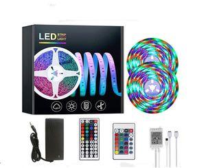 50 세트 도매 10M 유연한 SMD 리모콘 전원 공급 장치 휴일 장식 리본 테이프 램프 3528 RGB LED 스트립 라이트 세트
