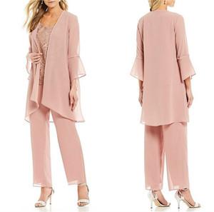 2021 neue Mutter der Braut-Hose-Klagen Drei Stücke Lace Jewel Ausschnitt Jumpsuits Wedding Guest Kleid Plus Size Pantsuits
