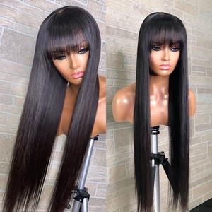 Meetu recta pelucas del pelo humano de 32 pulgadas con flequillo 30 Fringe peluca color pelucas de cabello humano jengibre Borgoña barato brasileño Remy peluca