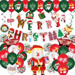 Christmas Balloon Set Decoration Santa Claus Elk Balloon Pull Flag Banner Spiral Ornament Foil Balloons Xmas Party Supplies