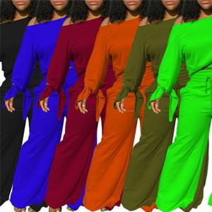 Plus Größe 2XL Herbst Winter Frauen Langarm Sweatshirt Breite Beinhosen Zwei Teile Set Solide Farbe Outfits Hoodies Lose Hosen Sportswear 3834