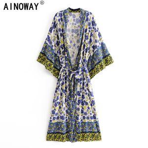 Vintage Chic Women Floral Print Fashes Bohemian Kimono Señoras V Mangas de batwing Boho Maxi Dress Robe