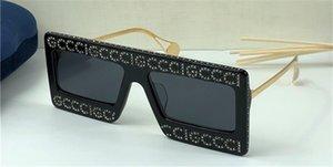nuevas gafas de sol de diseño de las mujeres 0431 de estilo bling bling brillante de la manera diseño de marco cuadrado gafas con montura de la lente UV400 con el caso