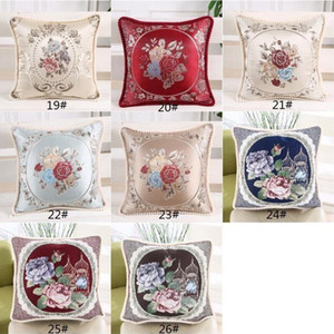 Pillowcase European Style Royal Embroidered Rose Peony Flower Pillow Cases Seat Car Sofa Pillow Covers Home Decor Ation Pillowcases GWE1680