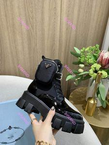 Prada 2020 Новая и женщины из натуральной кожи платформа Последней Сумки Boots Лучшей Повседневная обуви импульсно Тройной Мартин сапоги Размер 35-40