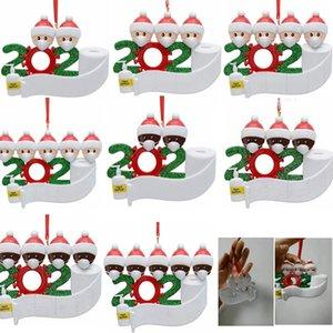 معلقة 2020 الحجر زخرفة عيد الميلاد شجرة عيد الميلاد الديكور هدية عائلة زخرفة مع الراتنج قناع اليد مطهرة GGA3682-3