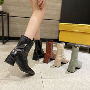 2020 Autumn And Winter Korean Style Simple Thick Heel Mid-leg Short Boots High Heel Martin Boots High Heel Side Zipper Round Head Women'