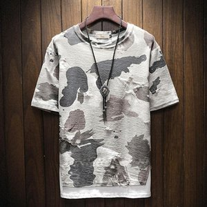 Summer T Shirts Men Tops Fashion Short Sleeve Men Round Neck Cotton Camouflage Shirt T Shirts plus size