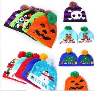LED Luminous Caps Hats Warmer Beanie Kids Children Pom Ball Skull Hats Light Up Night Flash Cartoon Hats for Christmas Halloween B82104