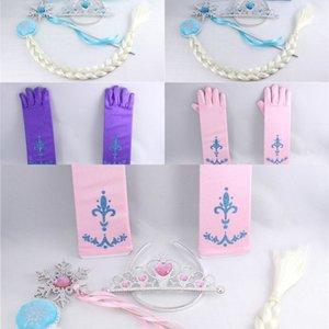 Ragazza 4Pcs / set dei capelli principessa Bambino Accessori Tiara Cosplay plastica Corona + parrucca + plastica Magic Wand + Guanto co1